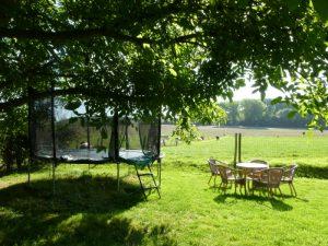 De trampoline naast de boom in de landschapstuin