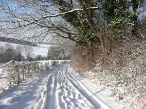 Ons kerstarrangement begint met een beetje geluk in de Kersttijd met genieten van onberispelijk witte sneeuw op een holle weg in het Zuid-Limburgse Heuvelland